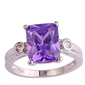 Jewelry - 14k Amethyst and Diamond Engagement Ring